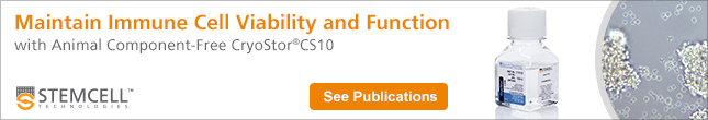 Maintain Immune Cell Viability and Function with Animal Component-Free CryoStor®CS10. See Publications.