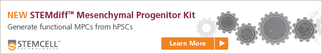 STEMdiff™ Mesenchymal Progenitor Kit for the efficient derivation of MPCs from hPSCs. Learn more here.