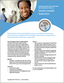 Talent Plus Senior Leader Solution Path
