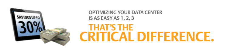 Optimizing your Data Center is as easy as 1, 2, 3. That's the critical difference.