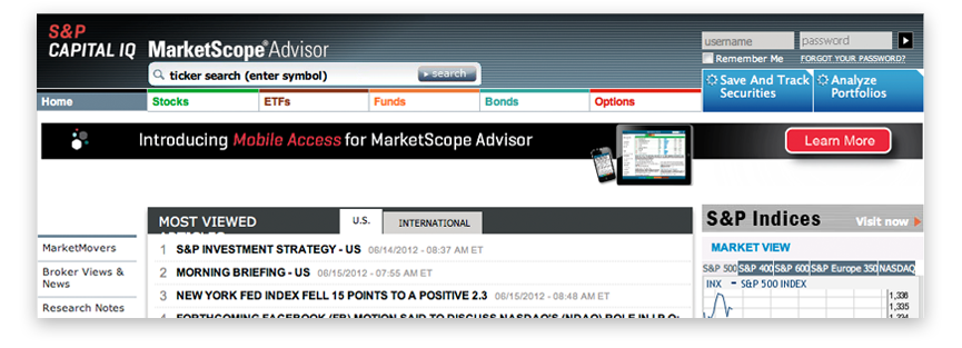 MarketScope Advisor from S&P Capital IQ