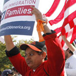 A protestor at an immigration rally.