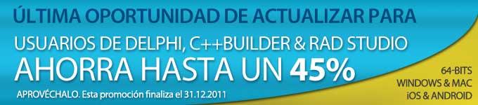 ultima oportunidad de actualizar para usuarios de Delphi, C++Builder & RAD Studio 2007