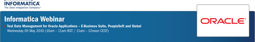 Informatica Webinar - Test Data Management for Oracle Applications - E-Business Suite, PeopleSoft and Siebel