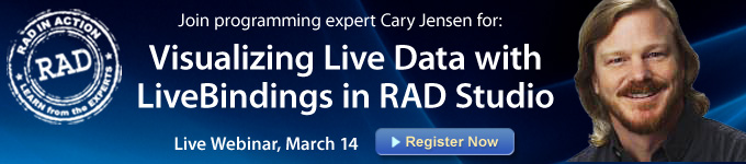 Visualizing Live Data with LiveBindings in RAD Studio - Register Now