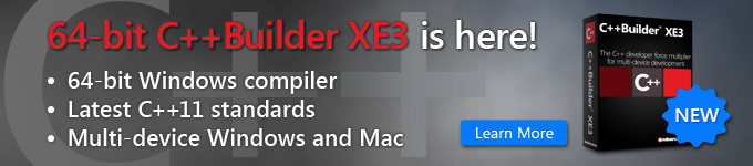 64-bit C++Builder XE3 is here! - Learn More