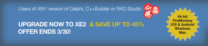 Upgrade now to XE2 & save up to 45% - offer ends 3/30!
