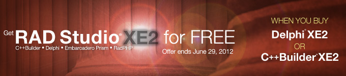 Get RAD Studio XE2 for Free - Offer ends June 29, 2012