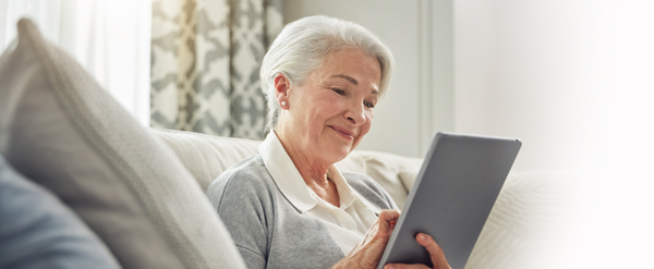 Senior woman on tablet