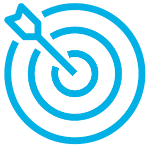 A blue bullseye icon