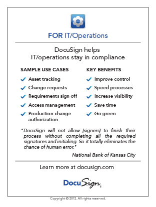 DocuSign for IT/Operations Use Case