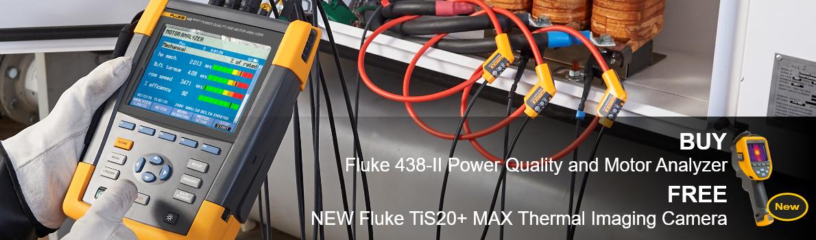 BUY Fluke 438-II Power Quality & Motor Analyzer FREE NEW Fluke TiS20+ MAX Thermal Imaging Camera