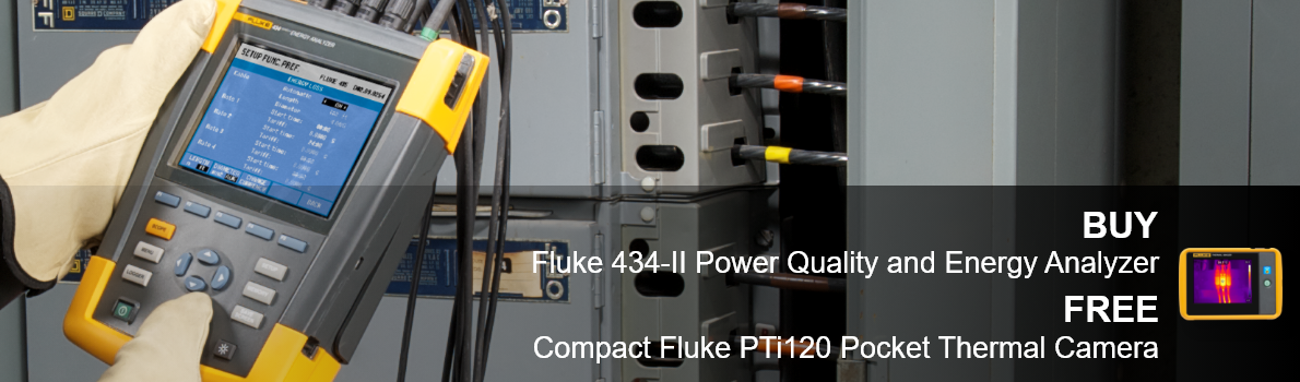 BUY Fluke 438-II Power Quality & Energy Analyzer FREE Compact Fluke PTi120 Pocket Thermal Camera
