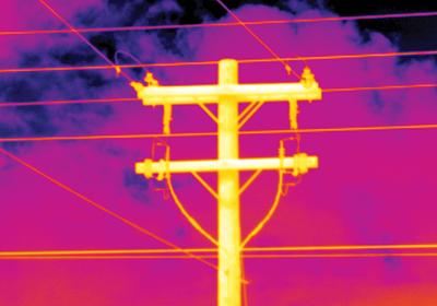 Infrared image of telephone pole