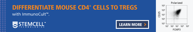 Use ImmunoCult™ to differentiate mouse CD4+ cells to Tregs.