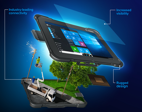 Zebra rugged tablet illustrated with a utility worker scene