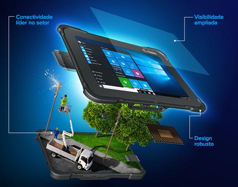 Uso de um tablet robusto da Zebra ilustrado em uma cena com um funcionário de serviços públicos