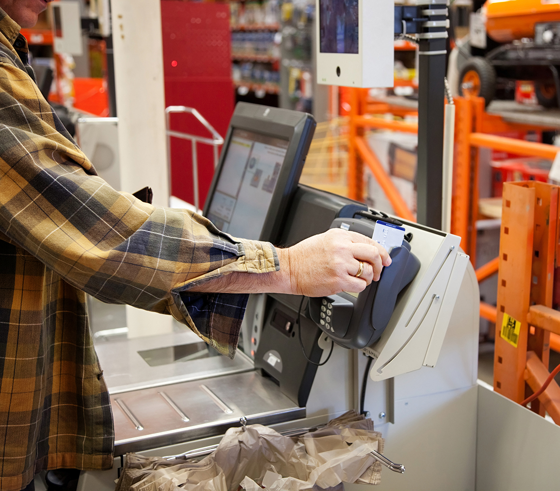 Customer in self checkout