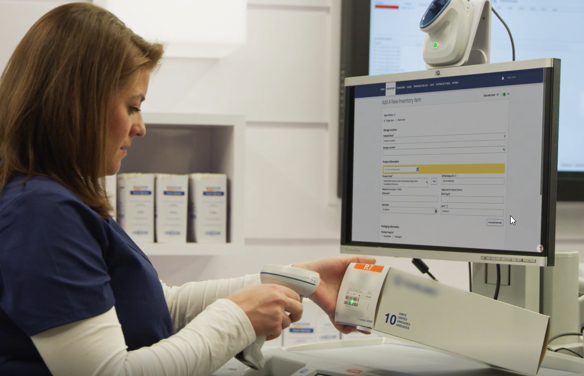 Healthcare worker scanning